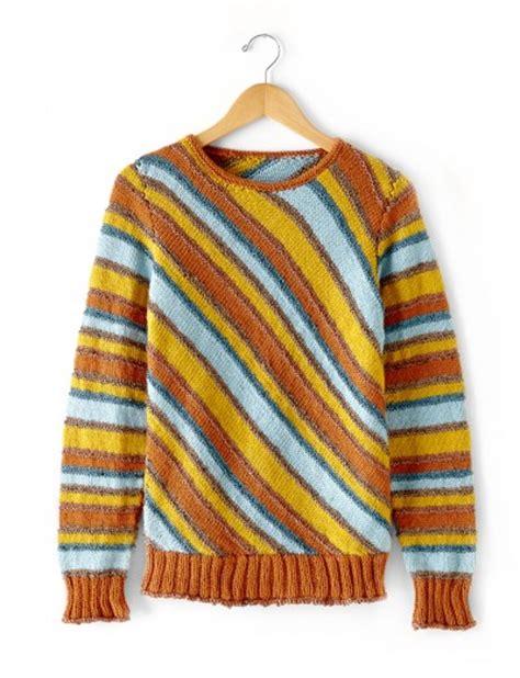 knitting pattern striped jumper patons diagonal stripes sweater free knitting pattern