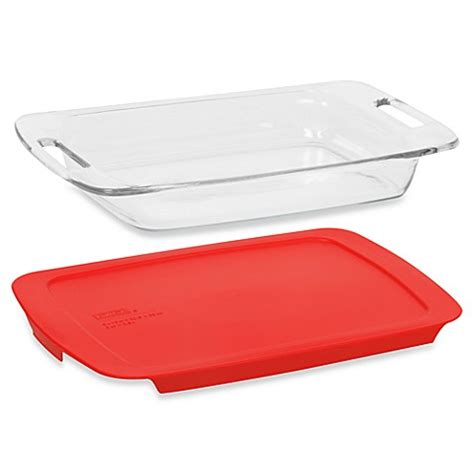 plastic cover bed bath beyond pyrex 174 easy grab 3 quart oblong glass baking dish with