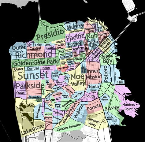 san francisco map neighborhood neighborhoods of san francisco david mcclure