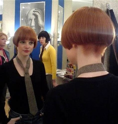bobbed haircut with shingled npae short red mod bob with bangs highly shaved nape
