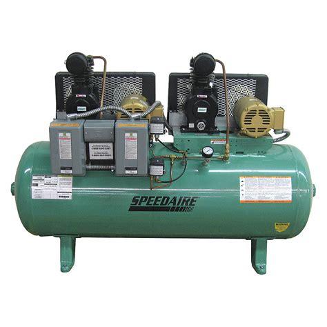 speedaire 1 hp 30 gal horizontal pressure lubricated tank mounted duplex electric air