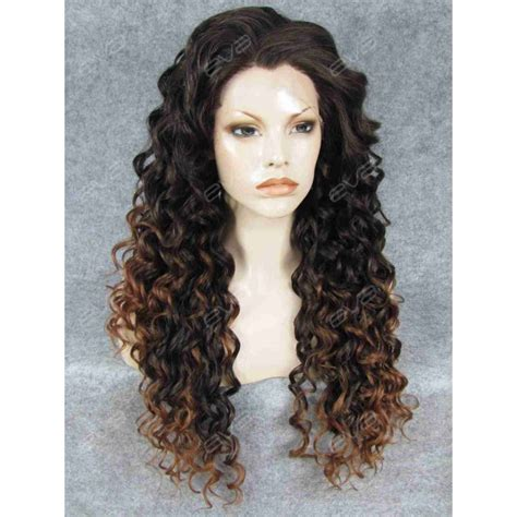ombre synethic hair brown ombre long curly synthetic lace front wig