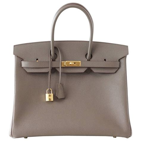 Fashion Bag 35 hermes birkin 35 bag etain gray epsom gold hardware for sale at 1stdibs