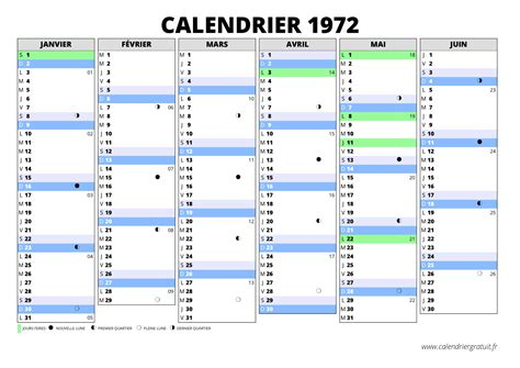 Calendrier De 1972 Calendrier 1972 Calendriergratuit Fr