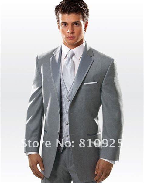 Handmade Suits - wedding groom tuxedos gray suits design custom made