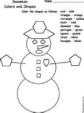 Grade level estimate for this page 1st 2nd snowman colors and shapes
