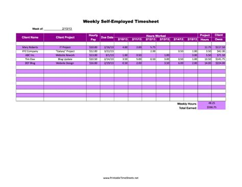 self employed weekly printable time sheet