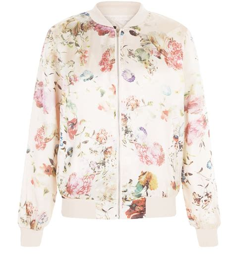 Bomber Flower New 1 new look pink floral print bomber jacket satiny
