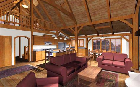 open cabin an open concept timber frame design for a family cabin