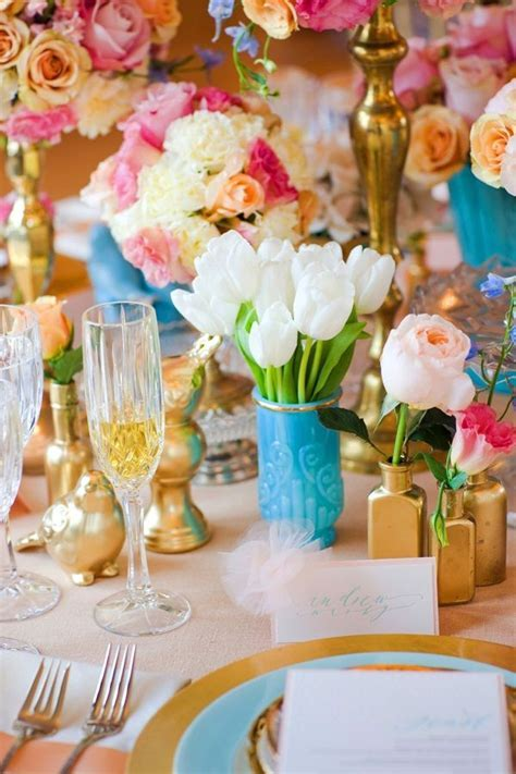 Turquoise Pink and Gold Reception Table Decor 3   Wedding
