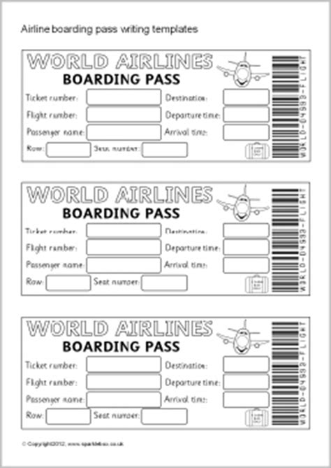 Airline Ticket Boarding Pass Writing Templates Sb7770 Sparklebox Plane Ticket Template Pdf