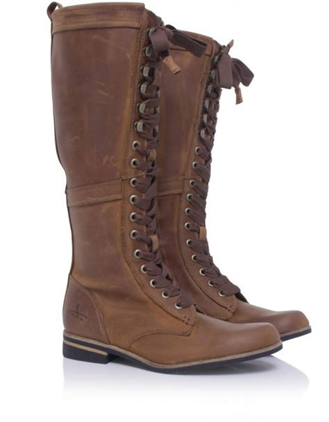 j shoes empire lace boots in brown lyst