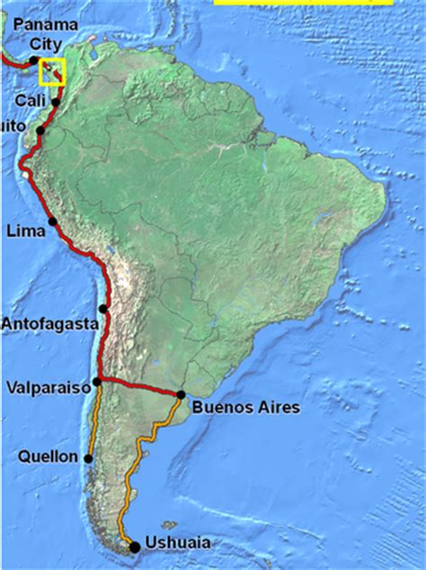 map of the pan american highway pan american highway chile map