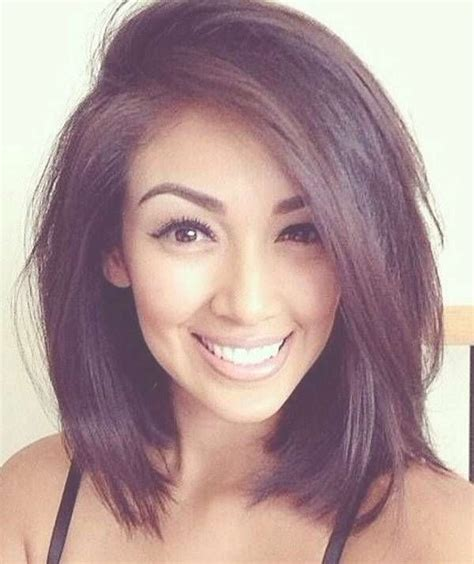 chin to shoulder length bob haircuts with long side swept bangs 2018 best of cute shoulder length bob hairstyles