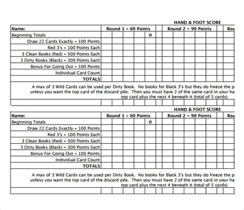 and foot score sheet 7 sle and foot score sheets sle templates