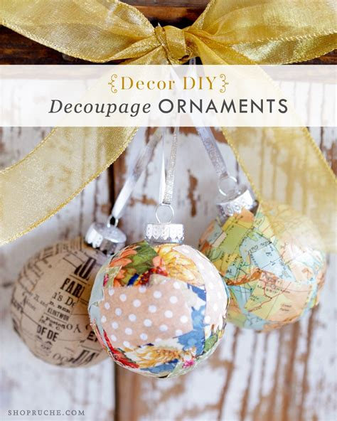 Decoupage Ornaments - diy decor decoupage ornaments tutorial from ruche