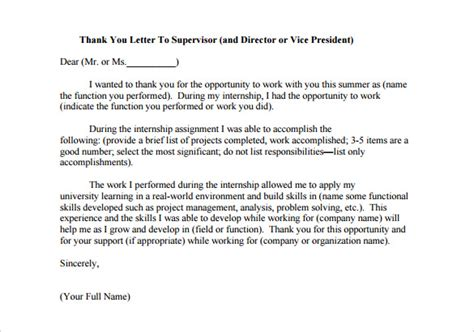 thank you letter to internship internship thank you letter 11 free sle exle