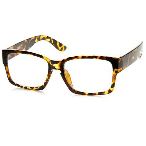 retro fashion bold thick modified rectangular clear lens