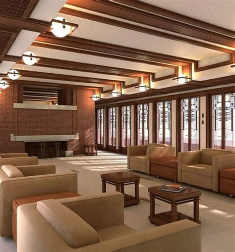 prairie style homes interior home designed by frank lloyd wright recreated with
