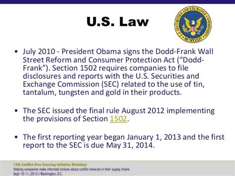 dodd frank act section 1502 12th cfsi workshop sept 10 2013 in region overview