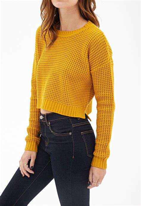 Sweater Cutout Knit Yellow forever 21 cropped waffle knit sweater you ve been added to the waitlist in yellow lyst