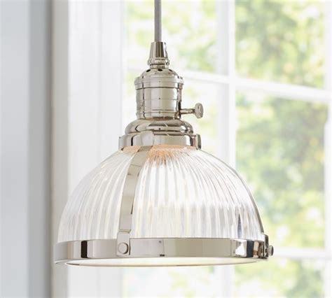 glass pendant kitchen lights pb classic pendant ribbed glass industrial pendant lighting by pottery barn