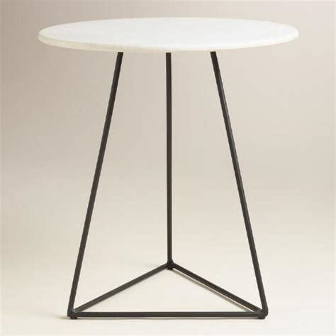 metal round accent table white marble and black metal round accent table