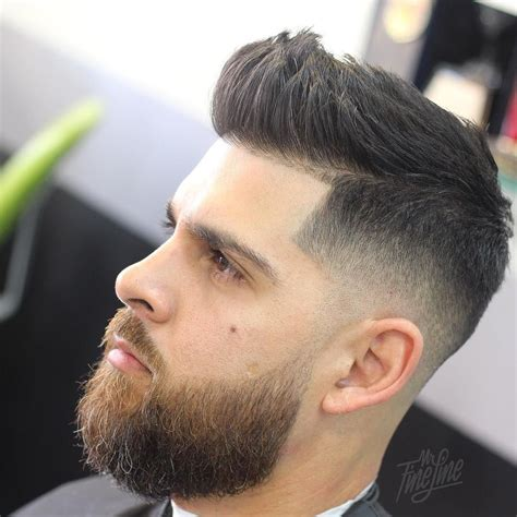 hairstyles high fade with beard mr fineline short quiff hairstyle for men with beard