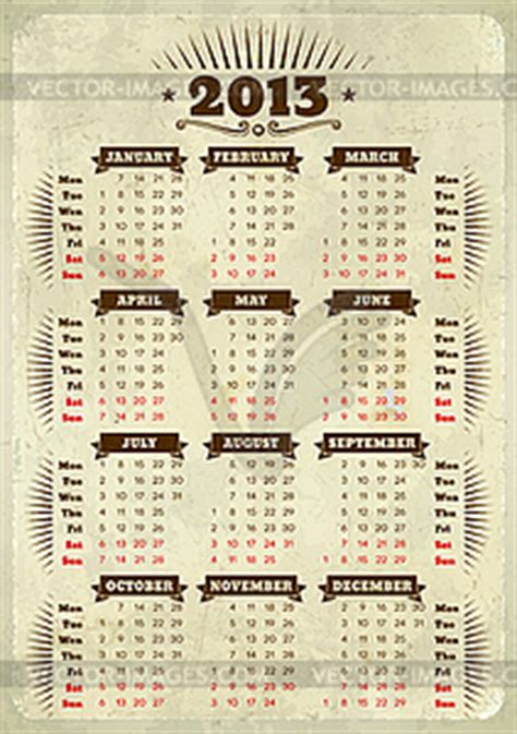design kalender retro vintage stil kalender 2013 vector design