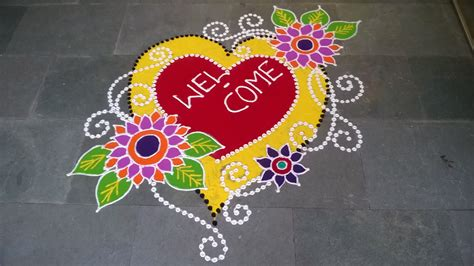 freehand rangoli design new year special youtube