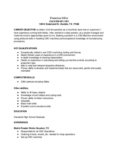 Cnc Machine Operator Resume Sample – Sample Resume Cnc Operator Cnc Machinist Resumes Free