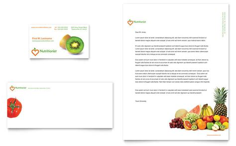 nutritionist dietitian business card letterhead