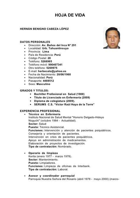 Modelo Curricular Peruano Hoja De Vida De Hernan Cabeza