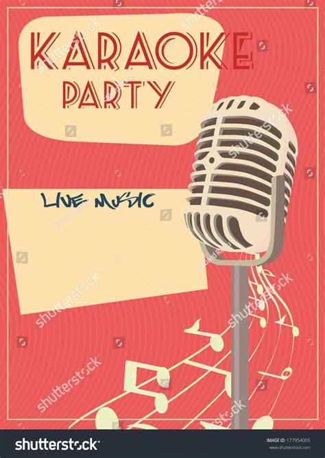 imagenes retro karaoke karaoke retro poster ilustraci 243 n vectorial en stock