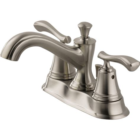 Centerset Faucet by Shop Delta Sentiment Stainless 2 Handle 4 In Centerset Watersense Bathroom Sink Faucet Drain