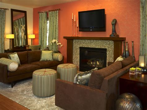 orange and brown living room modern furniture 2013 transitional living room decorating