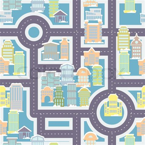 cute map pattern city street seamless pattern public buildings and