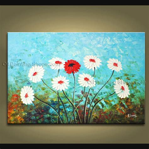 Handmade Paintings On Canvas - handmade stunning contemporary wall floral painting