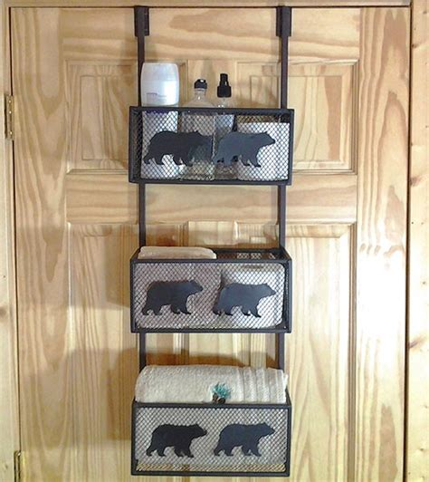 black bear bathroom door shelf cabin place