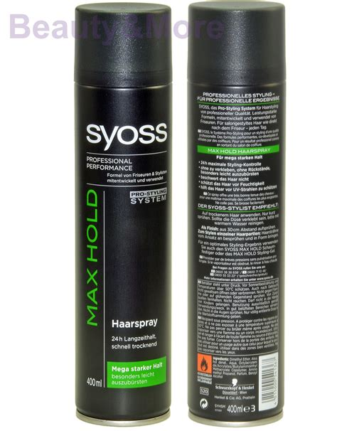 Sho Syoss 400 Ml syoss max hold haarspray professional performance 400 ml