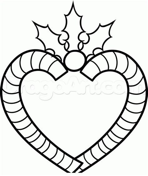 christmas heart coloring page how to draw a candy cane heart step by step christmas
