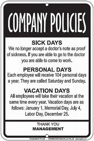 employees company policies funny sign great break room