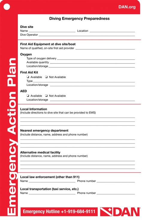 dan emergency action plan template try diving