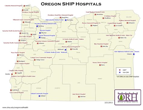 map of oregon hospitals oregon resources rural health information hub