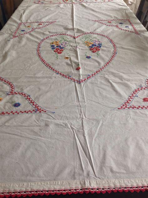 vintage kitchen tablecloth large by merrilyverilyvintage