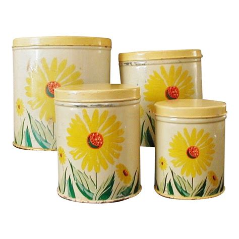 vintage tin sunflower kitchen canisters set of 4 vintage kitchen storage cannisters
