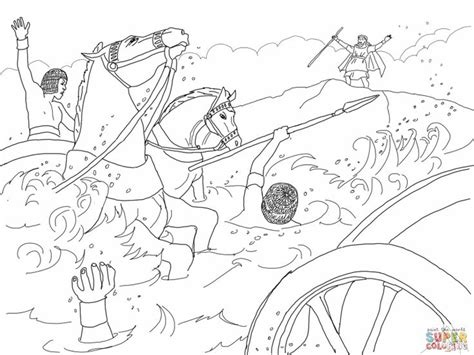 Pharaoh S Army Drowned Moses Crossing The Red Sea Bible Moses Crossing The Sea Coloring Page