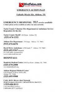 diving emergency plan template safety