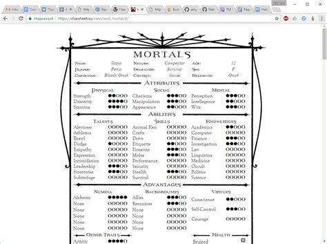 vtm character sheet generator whitewolfrpg