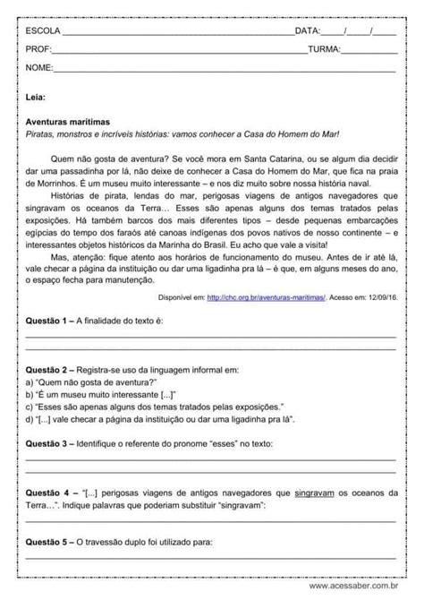 Atividade de português: Pronome esse - 7º ano